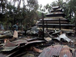Burnt Monastery                                            Photo Courtesy:Buddhist Defense League