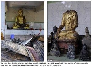 Damaged Statues                                        Photo Courtesy:Buddhist Defense League