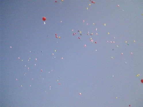 At 4:13 pm, the time when the Pak army surrendered to joint liberation forces at Suhrawardy Uddyan  in 1971,  protesters release balloons carrying letters to the martyrs.
