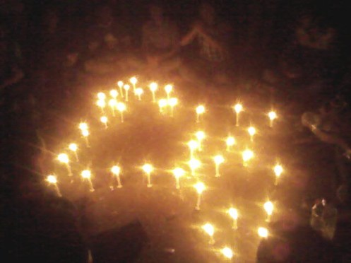 A Candle light vigil portraying the map of Bangladesh. In fact, the movement has reached to the farthest part of Bangladesh. From Cox's Bazar to Sylhet, from Comilla to Chittagong, everyone is demanding the capital punishment for war criminals.