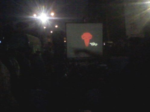 Dhaka University Film Society showing motivational liberation war film, TV drama and songs to cheer up the crowd at Shahbag.