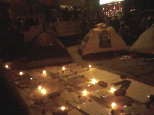 A group of protesters stage an innovative protest using make-shift tents on Shahbag TSC.