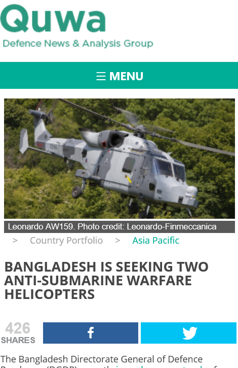 Quwa on Bangladesh Navy's AShW Helicopter Purchase